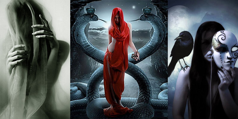 Veiled Dark Woman + Red Serpent Priestess + Unmasking with the black crow under the full moon