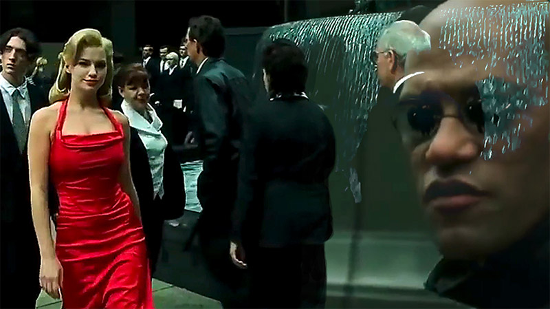 The Woman In The Red Dress with Morpheus in The Matrix Movie