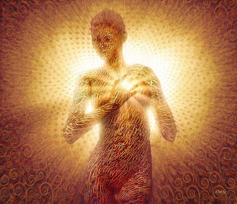 A Woman's Body filled with Golden Love and white light radiating from the Heart