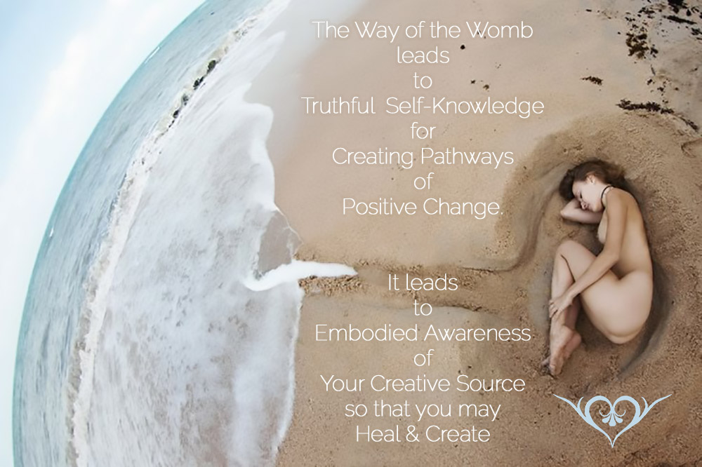 Naked Woman curled into fetal position in the Womb of the World - Way of The Womb Leads to Truthful Self-Knowledge for Creating Pathways of Positive Change. It Leads to Embodied Awareness of Your Creative Source to Create Authentically.